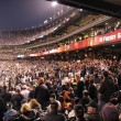 Stock Photo: Giants Fans cheer in stands as 'Freddy Sanchez' is displayed