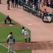 Giants Matt Cain releases throw to Catcher Buster Posey during B — Stock Photo