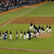 Giants high five each otheron field after winning game — Stock Photo #21849525