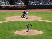 Närbild av jättar brian wilson handen håller en baseball — Stockfoto