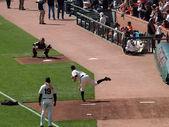Giganti opaco cain getta passo a buster catcher posey durante bul — Foto Stock