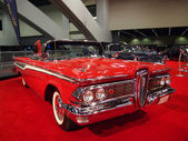 Red Classic Muscle Car on Display — Stock Photo