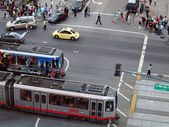 MUNI Lightrail trains pass each other outside Baseball Park — Stock Photo