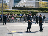 SFPD stand in street during Protest on Howard street — Stock Photo