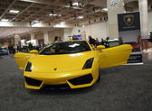 Yellow Lamborghini Car with Doors open — Stock Photo