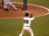 Giants Batter Buster Posey stands in the on deck circle holding — Stockfoto