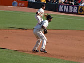 Giants Middle infielders Edgar Renteria and Freddy Sanchez stan — Stockfoto
