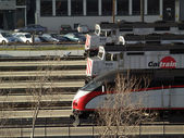 Caltrain trains parked at Station — Stock Photo
