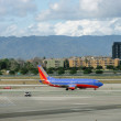 Southwest Plane sits on LAX runway wanting to take off — Stock Photo
