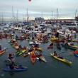 McCovey Cove filled with boats, kayaks and hoping for a h — Stock Photo