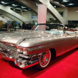 Classic Convertible Car Shines on display feature fins on the ba — ストック写真
