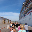 Lining up to board Cruiseship — Stock Photo