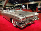 Classic Convertible Cadillac Car Shines on display feature fins — Stock Photo