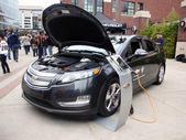 Chevy Volt on display at ballpark with hood open to show off ele — Stock Photo