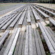 Foto Stock: Old wooden bench bleachers