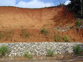 Sheered cliffside for roadway in Costa Rica — Stock Photo