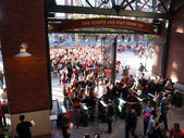 Crowd of entering AT&T Park — Stock Photo