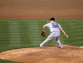 Red Sox closer Jonathan Papelbon steps to throws a pitch — Stock Photo