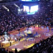 Light show goes on during Golden State Warriors intro to game as — Stock Photo