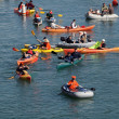 Stock Photo: Kayakers, and boaters paddle in McCovey Cove hoping for homeru