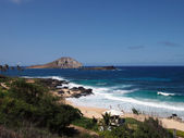 Makapuu beach with good waves, and Rabbit and Rock Island in the — Stock Photo