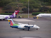 Island Air Propeller plane taxis on runway — Stock Photo
