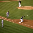 Yankee Alex Rodriguez runs to first base as Oakland A's first ba — Stock Photo #30822445