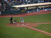 Yankees alex rodríguez se encuentra en la caja de bateadores listo para columpio con — Foto de Stock