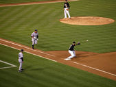 Yankee Alex Rodriguez runs to first base as Oakland A's first ba — Stock Photo