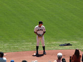 Giants Pitch Matt Cain stands on the mound in the bullpen as he — Stockfoto