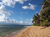Kaanapali Beach with trees, hotels, and Lanai in the distance — Stock Photo
