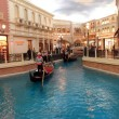 Stock Photo: Goldola, river, and Shops Inside landmark VenetiHotel in
