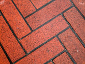 Wet Red Brick Sidewalk — Stock Photo