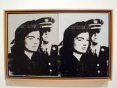 Sad Jackie Kennedy Screenprint on Canvas Andy Warhol — Stock Photo