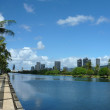 Stock Photo: AlWai Canal, hotels, Condos, Golf Course and Coconut trees on