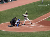 Giants Buster Posey lifts foot in the batters box anticipation o — Stockfoto