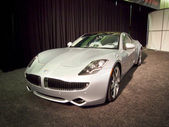 Silver Fisker Karma plug-in hybrid model 2011 at the 54rd Inter — Stock Photo