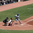 Постер, плакат: Cubs batter Randy Wells stands in batters box with Giants Buster