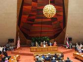 表彰台から話す知事ニール ・ アバークロンビー — ストック写真