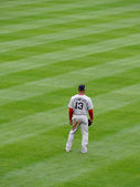 Red Sox Outfielder number 13 Carl Crawford stand in outfield — Stock Photo
