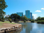 Pond in Ala Moana Beach Park with Condominiums towers across the — Stock Photo