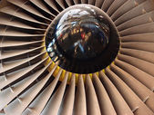 Jet engine fan blades close-up — Stock Photo