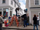 Large Crew films scene in historic area — Stock Photo