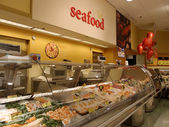 Seafood Section at Supermarket — Stock Photo