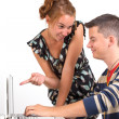 Young boy and girl with computer — Stock Photo