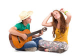 Young couple with guitar — Foto de Stock