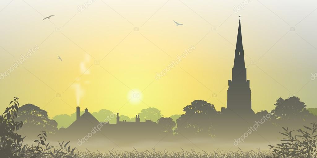 A Misty Country Landscape with Church Spire and Trees — Stock Vector #12850645