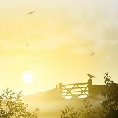 Paisagem de manhã nublada — Vetorial Stock