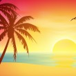 Tropical Sunset — Stock Vector