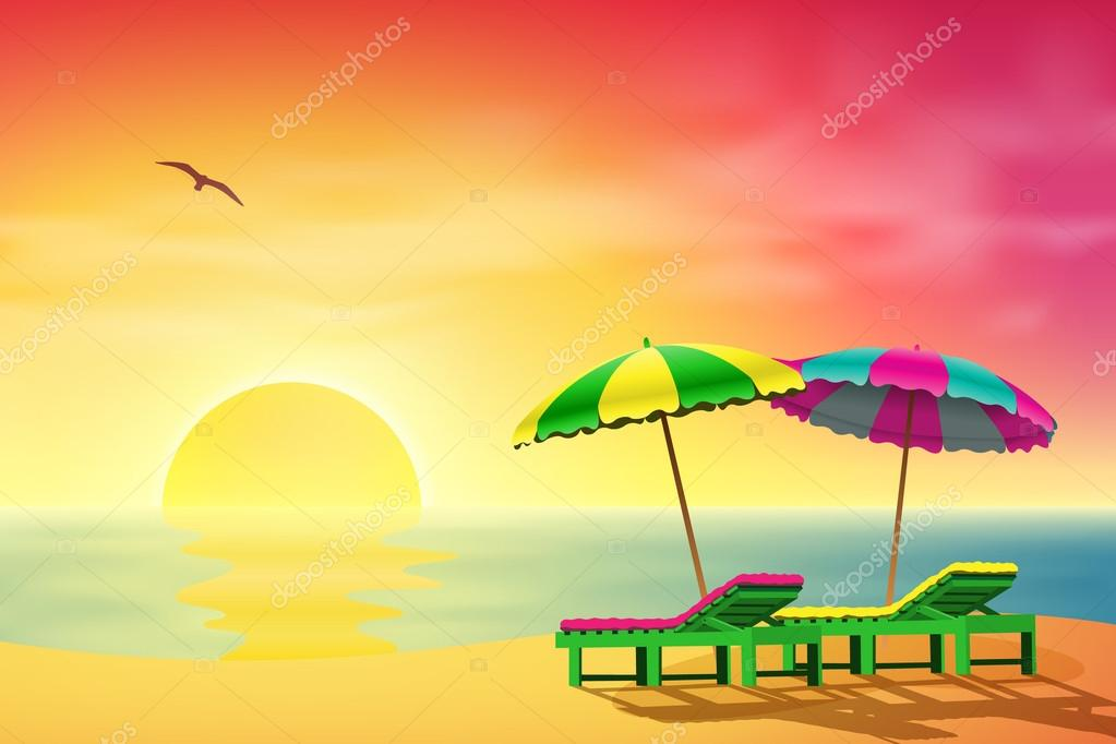 Two Sun Loungers and Parasols on a Beach with Sunset — Stock Vector #13862556